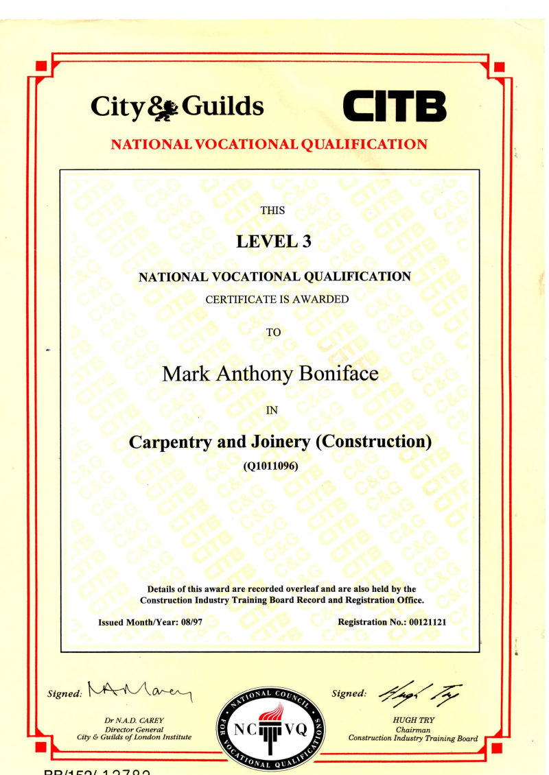 NVQ Level 3 Carpentry Paperwork